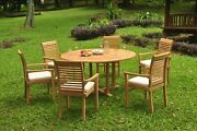 Dsms A-grade Teak 7pc Dining Set 60 Round Table 6 Stacking Arm Chair Outdoor