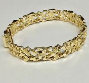 10kt Solid Yellow Gold Handmade Fashion Nugget Bracelet 11 Mm 28 Grams 8.5