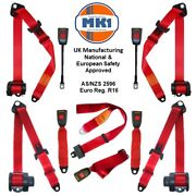 Volkswagen Beetle 1600 Gt Full Set Front And Rear Red Automatic Seat Belt Kit