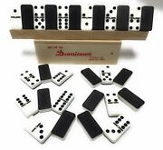 28 Pieces Double Six 6 Black And White 5 Inch Thick Dominoes Board Game