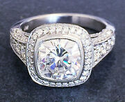 14k White Gold Cushion Forever One Moissanite And Diamond Engagement Ring 2.50ct