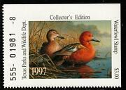 Texas 1997 State Waterfowl Hunting Permit Stamp Cinnamon Teal 17 Collector's Ed