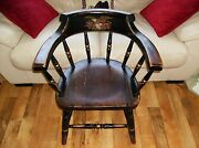 Antique Captainand039s Chair Rare Wooden With Eagle Carrying American Shield