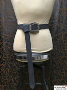 Heavy Leather Long Belt With Massive Engraved Buckle Multiple Color Options