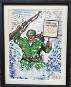 Bill Gallo Original Marines Color Painting Signed 1/1 Art Daily News Framed Auto