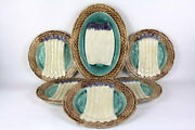 Vintage French Majolica Asparagus Service With 5 Asparagus Plates And A Server.