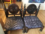 Handcarved One Of A Kind Teak Wood Indian Chairs