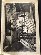 Stanley Huber Wood Back Stage Fine Art Collectible Antique Lithograph