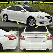 For 2013-2015 Nissan Altima Front+rear Bumper Chin+side Skirts Body Kit+spoiler