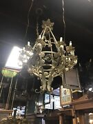Antique Style Iron Floral Style Chandelier. French Cottage Chandelier Fancy Farm