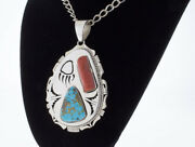 Candelaria Turquoise And Coral Shadowbox Pendant By Navajo Artist Bennie Ration