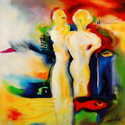 Romance In A Far Off Place By Alfred Gockel Fine Art Mixed Media On Canvas