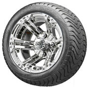 12 Rhox Rx332 Chrome Golf Cart Wheels And Low Profile Tires Combo Set Of 4