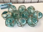 Japanese Glass Fishing Floats - 10 X 2.5andrdquo With Netting - Authentic Japan Balls
