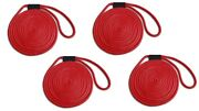 Double Braid Nylon Dock Line 4-pack 5/8 X 50and039 - Uv Coated/non-fading - Red Usa
