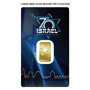 Israeland039s 70th Anniversary Independence 2018 Souvenir 1 Gram Pure Gold Bar 999.9