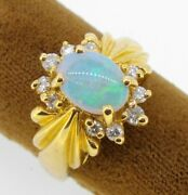 Ring 14k Yellow Gold Oval Shape Blue Green Opal With 10 Diamonds October Size 6