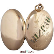 Antique C1900 Mizpah Rose-cut Diamond And Green Paste Locket 9k Gold Front And Back