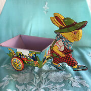 Vintage 1950and039s J. Chein Co. Tin Litho Boy Easter Bunny W/checked Overalls