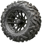 12 Rhox Rx104 Black Golf Cart Wheels And Tires Combo Set On