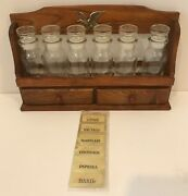 Vintage Made In Japan Wooden Spice Rack 6 Clear Bottles Labels Collectable