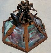Arts And Crafts Ceiling Light Fixture With Slag Glass Or Mica In Shade