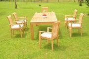 Dsms A-grade Teak 7pc Dining Set 86 Canberra Rectangle Table Stacking Arm Chair