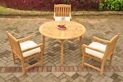 Dsdv A-grade Teak 4pc Dining Set 48 Round Table 3 Arm Chair Outdoor Patio