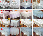 Vinyl Pvc White Embossed Crochet Lace Tablecloths Square Round Rectangular Oval