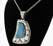 Turquoise Shadowbox Pendant With Chain By Navajo Artist Bennie Ration