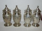 4 Antique Caldwell Sterling Silver Salt And Pepper Shakers