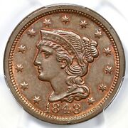 1848 N-5 R-4+ Pcgs Ms 64 Rb Braided Hair Large Cent Coin 1c