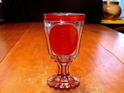 Gorgeous Antique Moser Czech Bohemian Red Cut To Clear Chalice Goblet