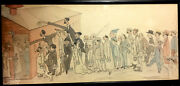 Ww1 1917 Original Drawing And Watercolor Sketch Signed