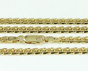 16-24 3.7mm 18k Yellow Flat Beveled Link Chainnew Solid Italian Necklace2413