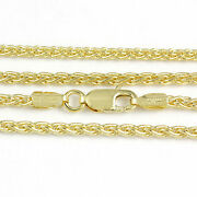 16-24 2.1mm 14k Yellow Gold Round Wheat Chain New Solid Italian Necklace2365