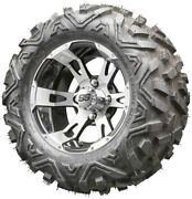 12 Rhox Rx320 Machined Golf Cart Wheels And All Terrain Tires Combo Set Of 4