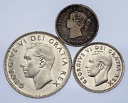 Canada Lot Of 3 Coins 1891 - 1951 5c - 25 Vf To Uncirculated Condition