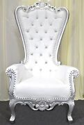 Silver Baroque Hand Carved Throne Chair With White Vinyl And Crystal Buttoning