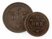 Sweden Lot Of 2 Coins 1875 2 Ore Vf, 1882 5 Ore Vf+ Great Coin Lot