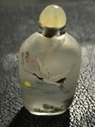 Chinese Inside Painted Snuff Bottle - Beautifully Painted Cranes - Signed