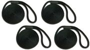 Solid Braid Nylon Dock Line 5/8 X 35and039 4-pack Floats / Fade Proof Usa - Black