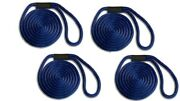 Solid Braid Nylon Dock Line - 5/8 X 50and039 4-pack Floats / Uv / Usa - Navy Blue
