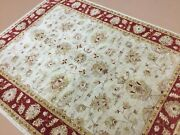 6'.2 X 7'.5 Beige Red Fine Oushak Oriental Area Rug Hand Knotted Wool Foyer