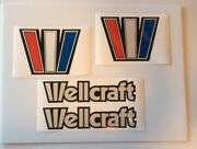 2 Wellcraft Reflective Outlined Old School Style Big 8x6 W Marine Vinyl