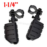 Universal 1 1/4 Highway Engine Guard Crash Bar Clamps Foot Pegs Rest For Harley
