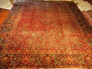8'11 X 11'8 Hand Knotted Persian Sarouk American Style Painted Rug Circa 1920