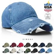 Vintage Distressed 100 Cotton Solid Polo Denim Baseball Cap Hat Ball Dad Washed