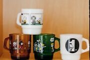 Snoopy Museum Tokyo Limited Fire King Mug Cup 4 Set Japan Gift Very Cute Rare