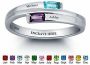 Personalized Sterling Silver Baguette Stones Ribbon Motherand039s Or Promise Ring 1